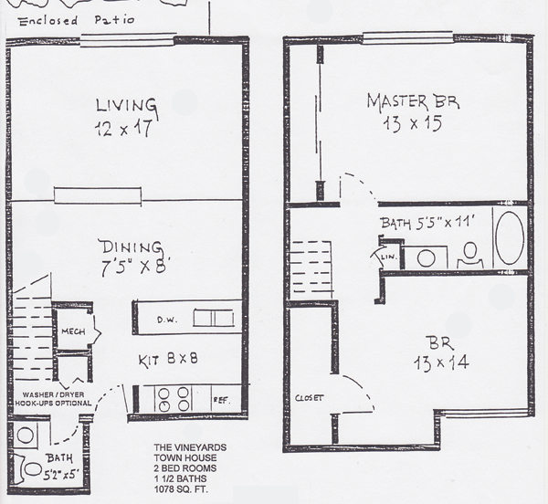 The vineyards floor plans shawnee properties for 5 bedroom townhouse floor plans