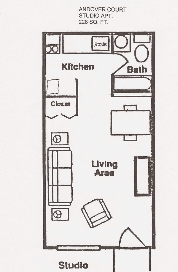 Andover court floor plans shawnee properties Efficiency apartment floor plan